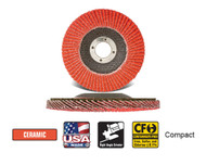 "CGW Camel Grinding Wheels - Flap Disc C3-40 Ceramic 4-1/2"" x 7/8""   Qty 10 42442"