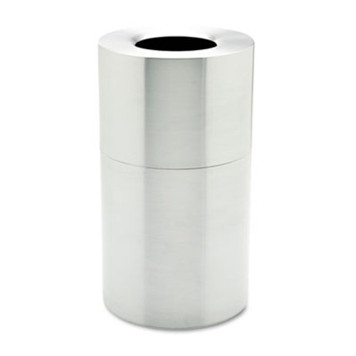 Rubbermaid Commercial 2-Piece Open Top Indoor Receptacle, Round, w/Liner, Satin Aluminum, 35 gal (RCP AOT35SA)