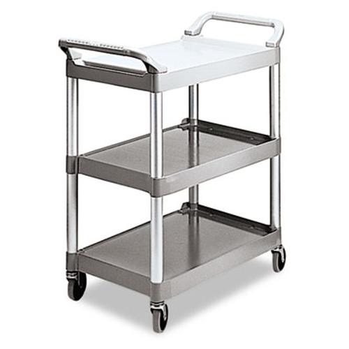 Rubbermaid Commercial Economy Plastic Cart, Three-Shelf, 18-5/8w x 33-5/8d x 37-3/4h, Platinum (RCP 3424-88 PLA)