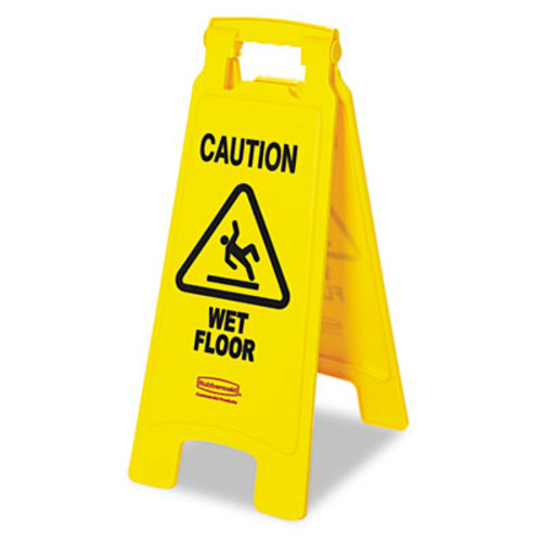 """Rubbermaid Commercial """"Caution Wet Floor"""" Floor Sign, Plastic, 11 x 1 1/2 x 26, Bright Yellow (RCP 6112-77 YEL)"""