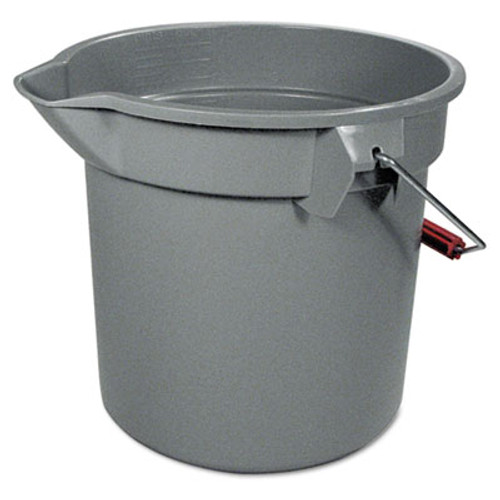 "Rubbermaid Commercial 14 Quart Round Utility Bucket, 12"" Diameter x 11 1/4""h, Gray Plastic (RCP 2614 GRA)"