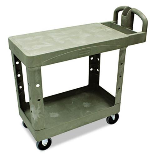 Rubbermaid Commercial Flat Shelf Utility Cart, Two-Shelf, 19-1/5w x 37-7/8d x 33-1/3h, Beige (RCP 4505 BEI)