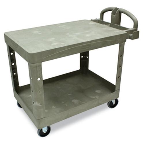 Rubbermaid Commercial Flat Shelf Utility Cart, Two-Shelf, 25-1/4w x 44d x 38-1/8h, Beige (RCP 4525 BEI)