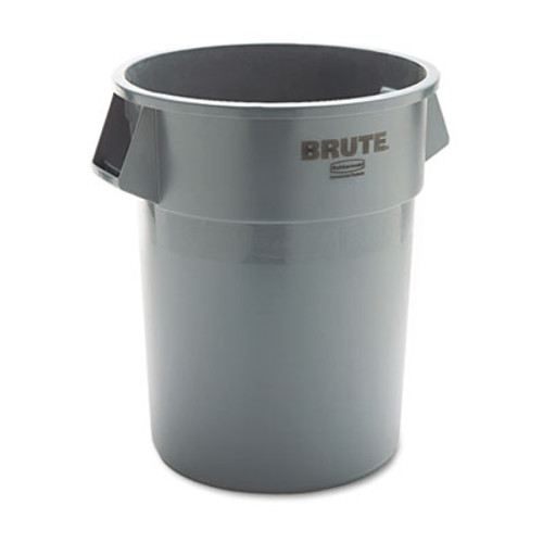 Rubbermaid Commercial Round Brute Container, Plastic, 55 gal, Gray (RCP 2655 GRA)