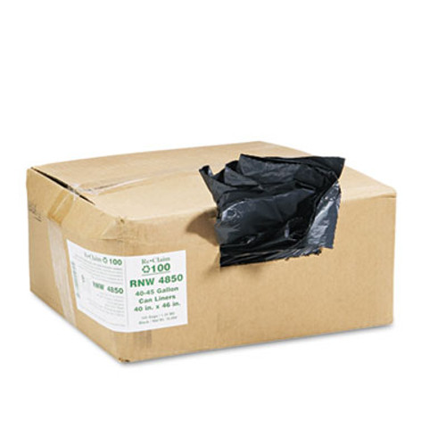 Earthsense Commercial Recycled Can Liners, 40-45gal, 1.25mil, 40 x 46, Black, 100/Carton (WEB RNW4850)