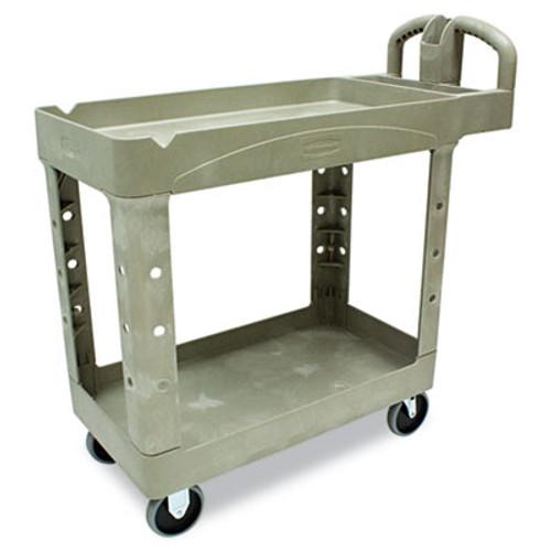 Rubbermaid Commercial Heavy-Duty Utility Cart, Two-Shelf, 17-1/8w x 38-1/2d x 38-7/8h, Beige (RCP 4500-88 BEI)