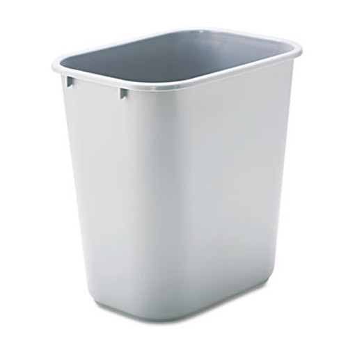 Rubbermaid Commercial Deskside Plastic Wastebasket, Rectangular, 7 gal, Gray (RCP 2956 GRA)