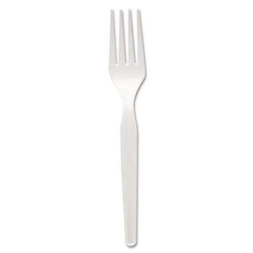 Dixie Plastic Cutlery, Heavy Mediumweight Forks, White, 1000/Carton (DIX FM217)