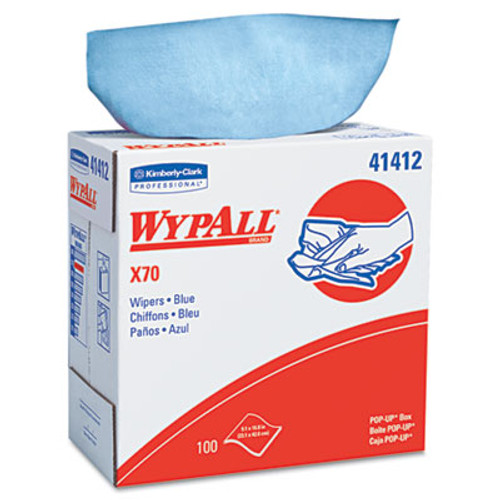WypAll* X70 Wipers, POP-UP Box, 9 1/10 x 16 4/5, Blue, 100/Box, 10 Boxes/Carton (KCC 41412)