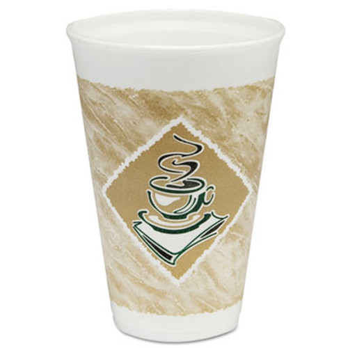 Dart Café G Foam Hot/Cold Cups, 16oz, White w/Brown & Green, 1000/Carton (DCC 16X16G)