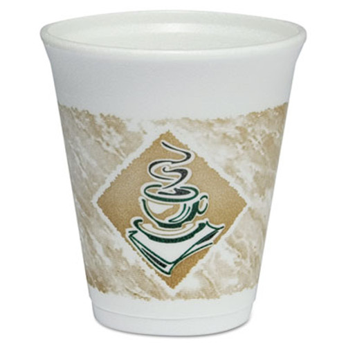 Dart Café G Foam Hot/Cold Cups, 8oz, White w/Brown & Green, 1000/Carton (DCC 8X8G)