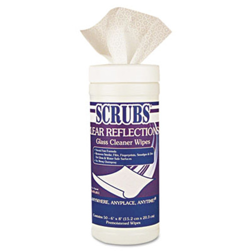 SCRUBS CLEAR REFLECTIONS Glass/Surface Wipes, 6 x 8, 50/Canister, 6 Cans/Carton (DYM 98556)