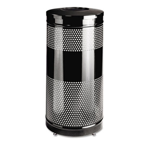 Rubbermaid Commercial Classics Perforated Open Top Receptacle, Round, Steel, 25gal, Black (RCP S3ETBKPL)