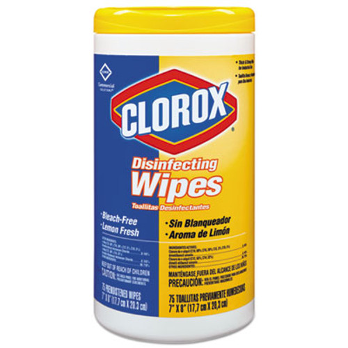 Clorox Disinfecting Wipes, 7 x 8, Lemon Fresh, 75/Canister, 6/Carton (CLO 15948)