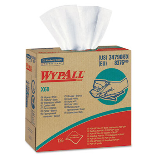 WypAll* X60 Wipers, HYDROKNIT, 9 1/8 x 16 4/5, 126/Box (KCC 34790)