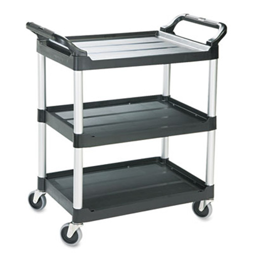 Rubbermaid Commercial Economy Plastic Cart, Three-Shelf, 18-5/8w x 33-5/8d x 37-3/4h, Black (RCP 3424-88 BLA)