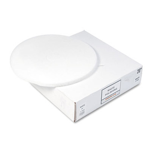 "Boardwalk Standard Floor Pads, 20"" dia, White, 5/Carton (PAD 4020 WHI)"