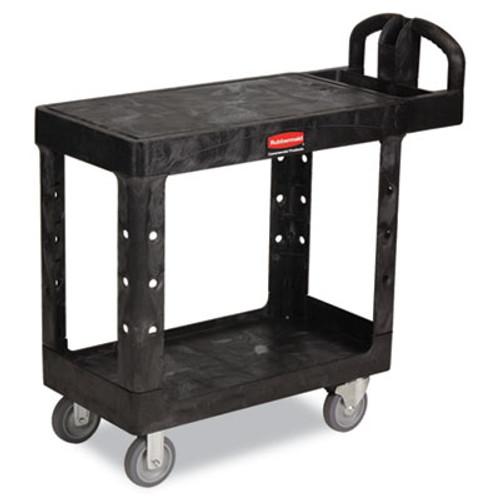 Rubbermaid Commercial Flat Shelf Utility Cart, Two-Shelf, 19-3/16w x 37-7/8d x 33-1/3h, Black (RCP 4505 BLA)