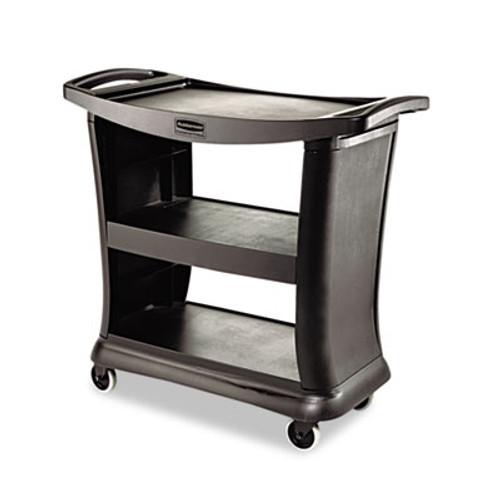 Rubbermaid Commercial Executive Service Cart, Three-Shelf, 20-1/3w x 38-9/10d, Black (RCP 9T68 BLA)