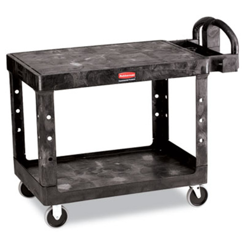 Rubbermaid Commercial Flat Shelf Utility Cart, Two-Shelf, 25-1/4w x 44d x 38-1/8h, Black (RCP 4525 BLA)