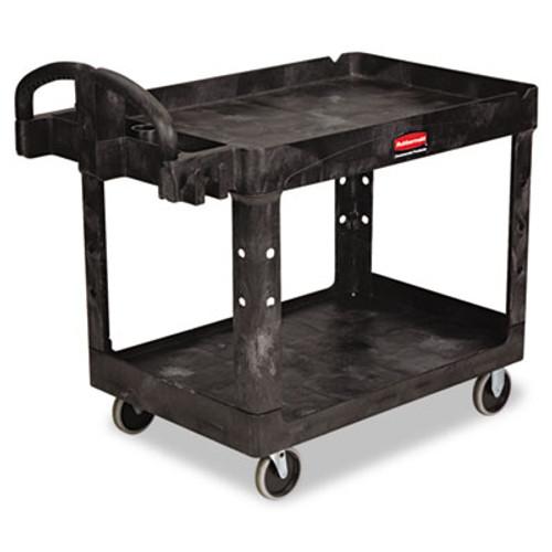 Rubbermaid Commercial Heavy-Duty Utility Cart, Two-Shelf, 25-1/4w x 44d x 39h, Black (RCP 4520-88 BLA)