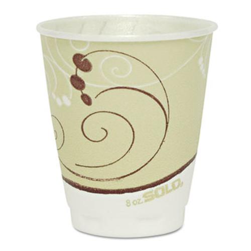 SOLO Cup Company Symphony Design Trophy Foam Hot/Cold Drink Cups, 8oz, Beige, 1000/Carton (SCC X8SYM)