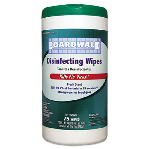 Boardwalk Disinfecting Wipes, 8 x 7, Fresh Scent, 75/Canister, 6 Canisters/Carton (BWK 354-W75)