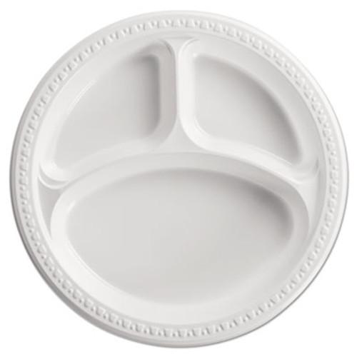 "Chinet Heavyweight Plastic 3 Compartment Plates, 10 1/4"" Dia, White, 125/PK, 4 PK/CT (HUH 81230)"