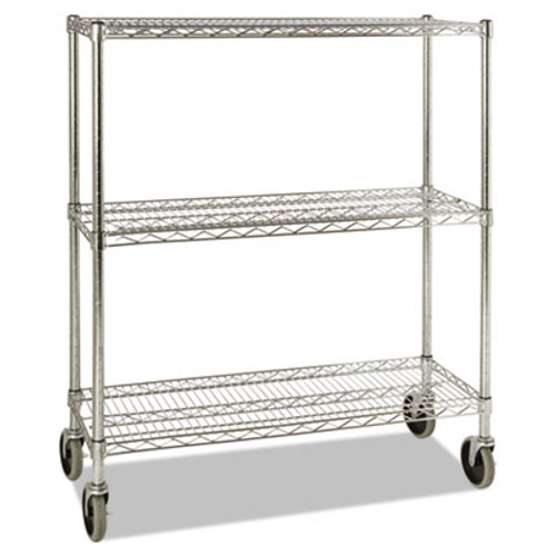 Rubbermaid Commercial ProSave Shelf Ingredient Bin Cart, Three-Shelf, 38w x 14d x 48 3/8h, Chrome (RCP 9G79 CHR)