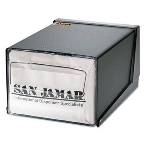 San Jamar Countertop Napkin Dispenser, 7 5/8 x 11 x 5 1/2, Capacity: 300 Napkins, Black (SAN H3001BKC)