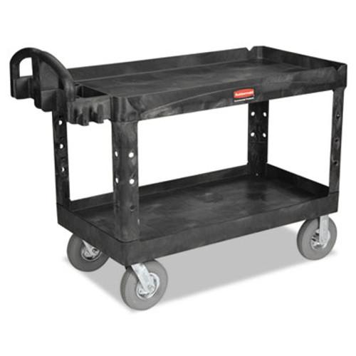 Rubbermaid Commercial Heavy-Duty Utility Cart, Two-Shelf, 26w x 55d x 33 1/4h, Black (RCP 4546 BLA)