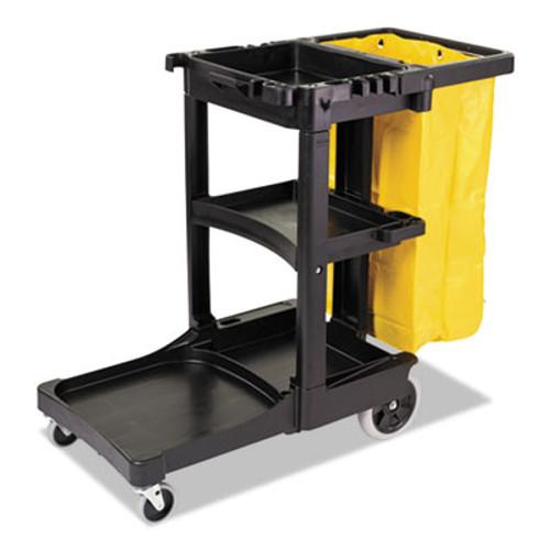Rubbermaid Commercial Multi-Shelf Cleaning Cart, Three-Shelf, 21-3/4w x 46d x 38-3/8h, Blue (RCP 6173-88 BLU)