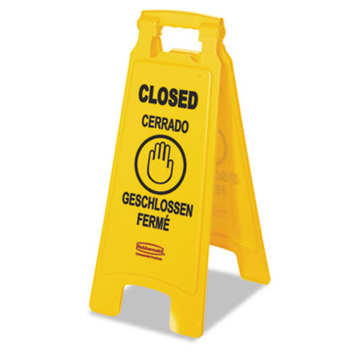 """Rubbermaid Commercial Multilingual """"Closed"""" Sign, 2-Sided, Plastic, 11w x 1.5d x 26h, Yellow (RCP 6112-78 YEL)"""
