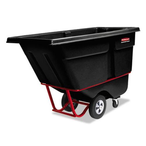 Rubbermaid Commercial Rotomolded Tilt Truck, Rectangular, Plastic, 1/2 cu yd., 850-lb Cap., Black (RCP 1305 BLA)