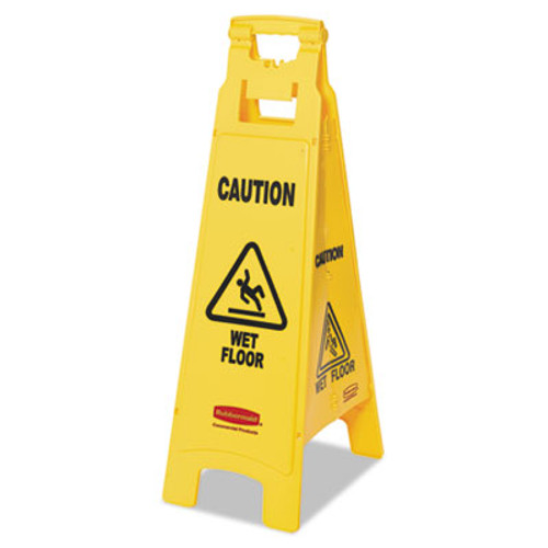 Rubbermaid Commercial Caution Wet Floor Floor Sign, 4-Sided, Plastic, 12 x 16 x 38, Yellow (RCP 6114-77 YEL)