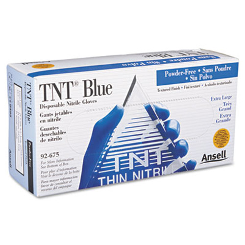 AnsellPro TNT Disposable Nitrile Gloves, Non-powdered, Blue, X-Large, 100/Box (ANS 92-675-XL)