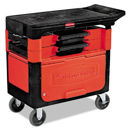 Rubbermaid Commercial Locking Trades Cart, 330-lb Cap, Two-Shelf, 19-1/4w x 38d x 33-3/8h, Black (RCP 6180-88 BLA)