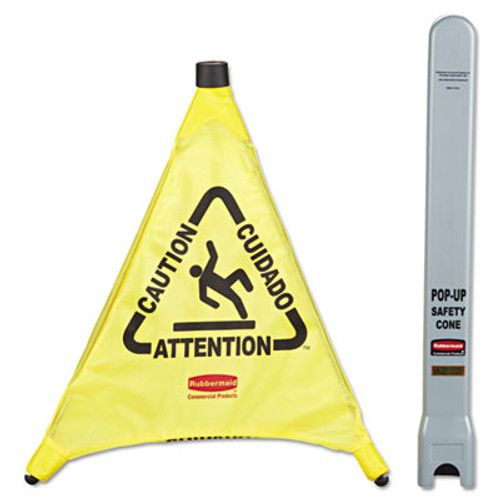 "Rubbermaid Commercial Multilingual ""Caution"" Pop-Up Safety Cone, 3-Sided, Fabric, 21 x 21 x 20, Yellow (RCP 9S00 YEL)"