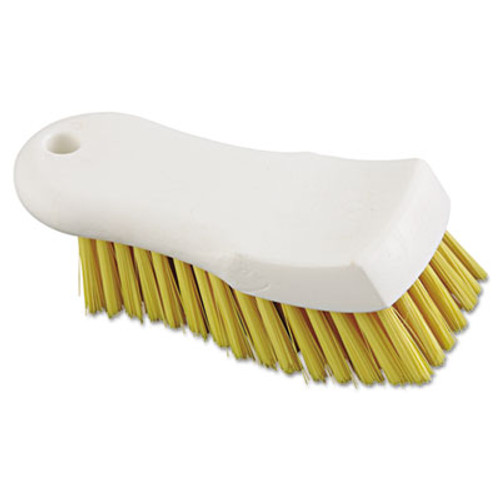 "Boardwalk Scrub Brush, Yellow Polypropylene Fill, 6"" Long, White (BWK FSCBYL)"
