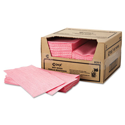 Chix Wet Wipes, 11 1/2 x 24, White/Pink, 200/Carton (CHI 8311)