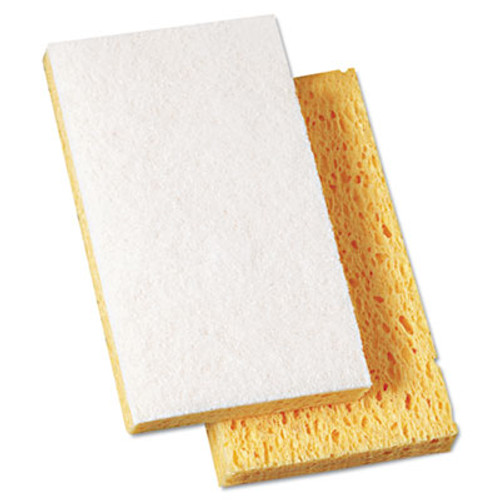 "Boardwalk Scrubbing Sponge, 3 3/5"" x 6 1/10"", 7/10"" Thick, Yellow/White, 20/Carton (PAD 163-20)"