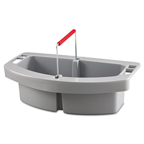 Rubbermaid Commercial Maid Caddy, 2-Comp, 16w x 9d x 5h, Gray (RCP 2649 GRA)