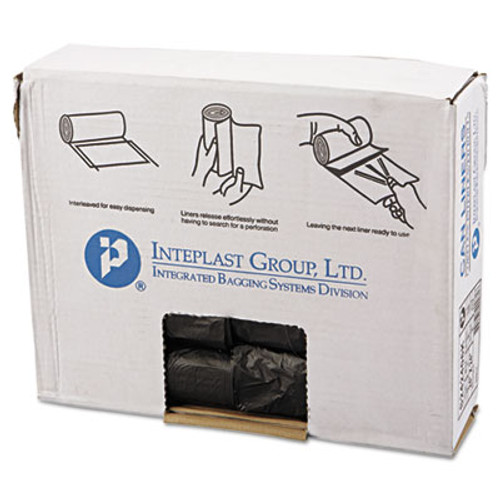 Inteplast Group High-Density Can Liner, 24 x 24, 10gal, 6mic, Black, 50/Roll, 20 Rolls/Carton (IBS S242406K)