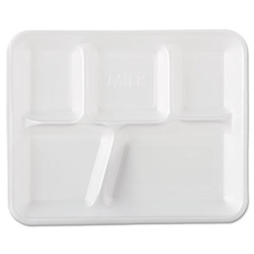 Genpak Foam School Trays, 5-Comp, 10 2/5 x 8 2/5 x 1 1/4, White, 500/Carton (GNP 10500)