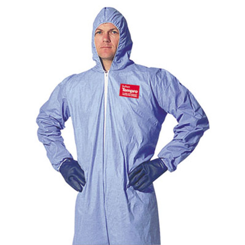 DuPont Tempro Elastic-Cuff Hooded Coveralls, Blue, 2X-Large, 25/Carton (DUP TM127S-2XL)