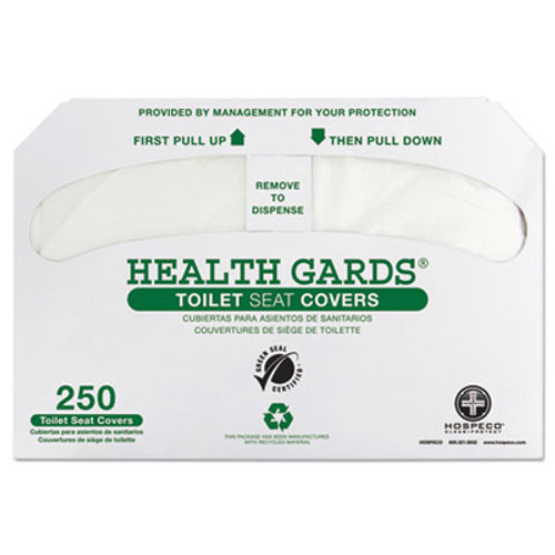 Hospital Specialty Co. Health Gards Recycled Toilet Seat Covers, White, 250/PK, 4 PK/CT (HOS GREEN-1000)