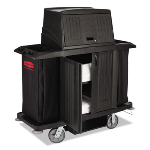 Rubbermaid Commercial Full Size Housekeeping Cart with Doors, 22w x 60d x 67 1/2h, Black (RCP 9T19 BLA)