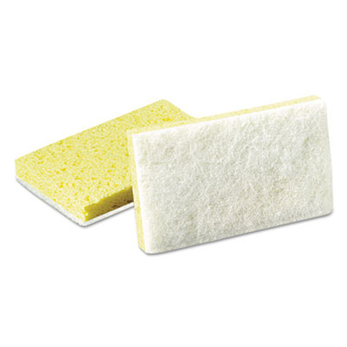 Scotch-Brite Light-Duty Scrubbing Sponge, #63, 3 1/2 x 5 5/8, Yellow/White (MMM08251)