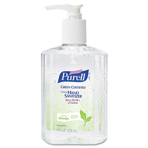 PURELL Advanced Green Certified Instant Hand Sanitizer Gel, 8oz Pump Bottle, Clear (GOJ969112EA)