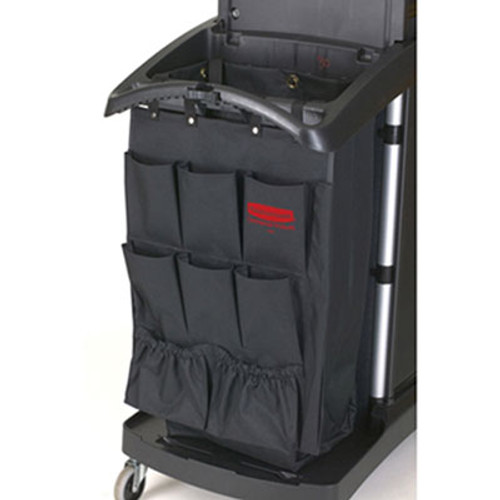 Rubbermaid Commercial Fabric 9-Pocket Cart Organizer, 19 3/4w x 28d x 1 1/2h, Black, 6/Carton (RCP 9T90 BLA)